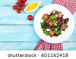 fresh salad with spinach ...   Shutterstock . vector #601162418