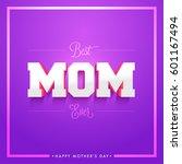 3d text mom on purple... | Shutterstock .eps vector #601167494
