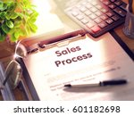 clipboard with sales process... | Shutterstock . vector #601182698
