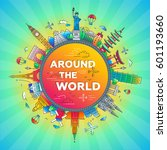 around the world   vector... | Shutterstock .eps vector #601193660