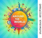 around the world   vector... | Shutterstock .eps vector #601193660