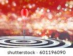 close up shot red dart arrow on ... | Shutterstock . vector #601196090