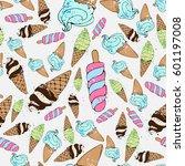 ice cream seamless pattern... | Shutterstock .eps vector #601197008