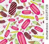 ice cream seamless pattern... | Shutterstock .eps vector #601197158