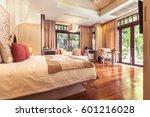 luxury bedroom hotel interior ... | Shutterstock . vector #601216028