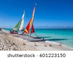two sailing catamarans on the... | Shutterstock . vector #601223150