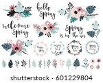 spring set  hand drawn elements ... | Shutterstock .eps vector #601229804