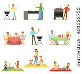 people on bbq picnic outdoors... | Shutterstock .eps vector #601232750