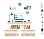 modern workspace with desktop... | Shutterstock .eps vector #601239146