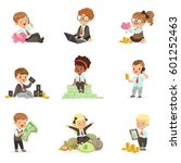 kids in financial business set... | Shutterstock .eps vector #601252463