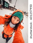 Winter Sport Activity. Woman...