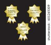 sale label set gold  guarantee  ... | Shutterstock .eps vector #601265309