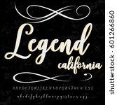 handwritten handcrafted font... | Shutterstock .eps vector #601266860