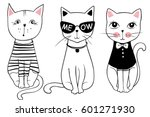 Stock vector vector series with cute fashion cats stylish kitten set trendy illustration in sketch style t 601271930