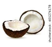 realistic coconut  two halves... | Shutterstock .eps vector #601276178