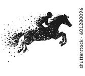 Stock vector vector illustration with horse and rider poster with silhouette of star particles for logo 601280096