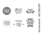 thank you set of gray badges... | Shutterstock .eps vector #601282250
