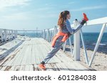 fitness sport girl in fashion... | Shutterstock . vector #601284038