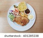 pork steak  fried potatoes ... | Shutterstock . vector #601285238