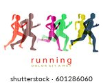people running marathon logo... | Shutterstock .eps vector #601286060