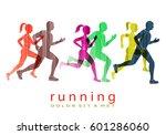 people running marathon logo... | Shutterstock .eps vector #601286060