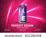 energy drink on sparkly and... | Shutterstock .eps vector #601286348