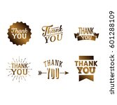 thank you set of brown metal... | Shutterstock .eps vector #601288109