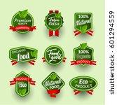 organic health food badge seal...   Shutterstock .eps vector #601294559