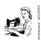 woman sewing   retro clip art | Shutterstock .eps vector #60129493