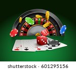 casino roulette with chips  red ... | Shutterstock .eps vector #601295156