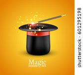 magic hat with magic wand.... | Shutterstock .eps vector #601295198