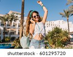 young stylish girl with long... | Shutterstock . vector #601295720