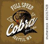 vintage american furious cobra... | Shutterstock .eps vector #601317428