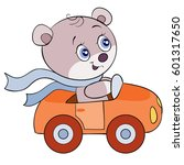 cute bear is driving a car | Shutterstock .eps vector #601317650