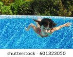 Child Swims In Pool Under Water ...