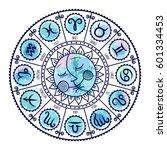 set of symbol zodiac sign.... | Shutterstock .eps vector #601334453