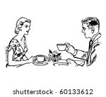couple having tea   retro clip... | Shutterstock .eps vector #60133612