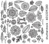 big set of hand drawn flowers ... | Shutterstock .eps vector #601339280