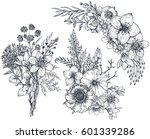 Stock vector set of floral compositions bouquets with hand drawn flowers and plants monochrome vector 601339286