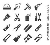 diy hand tools icons set.... | Shutterstock . vector #601342778