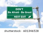 green overhead road sign with a ... | Shutterstock . vector #601346528