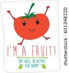 cartoon modern style fruit and... | Shutterstock .eps vector #601348220