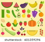 set of fruits and vegetables....   Shutterstock .eps vector #601359296