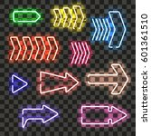 set of glowing neon arrows with ... | Shutterstock .eps vector #601361510