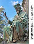 Small photo of Statue of Jan Hus, an element of the Martin Luther Monument in Worms, Germany. The monument was unveiled in 1868. Text behind the statue reads: Here I stand, I cannot do otherwise. God help me! Amen!