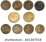 old coins and sovereigns  | Shutterstock . vector #601367018