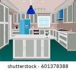 kitchen  kitchen interior with... | Shutterstock .eps vector #601378388