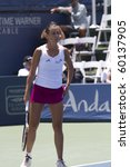 CARLSBAD, CA - AUGUST 06: Flavia Pennetta (Italy) in a quarter-final match vs Samantha Stosur (Australia) at the Mercury Insurance Open at La Costa Resort and Spa on August 6, 2010 in Carlsbad, CA. - stock photo