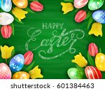 colorful easter eggs with... | Shutterstock .eps vector #601384463