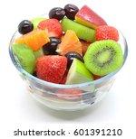 bowl of healthy fresh fruit... | Shutterstock . vector #601391210